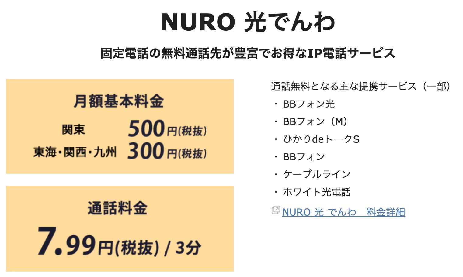 NURO光でんわ月額基本料金