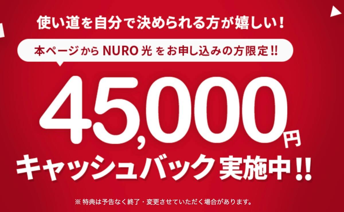 45000円キャッシュバック