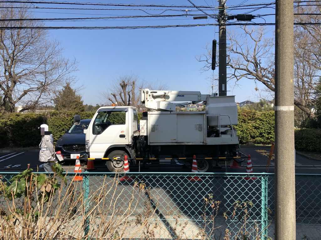 NURO光・宅外工事のバケット車