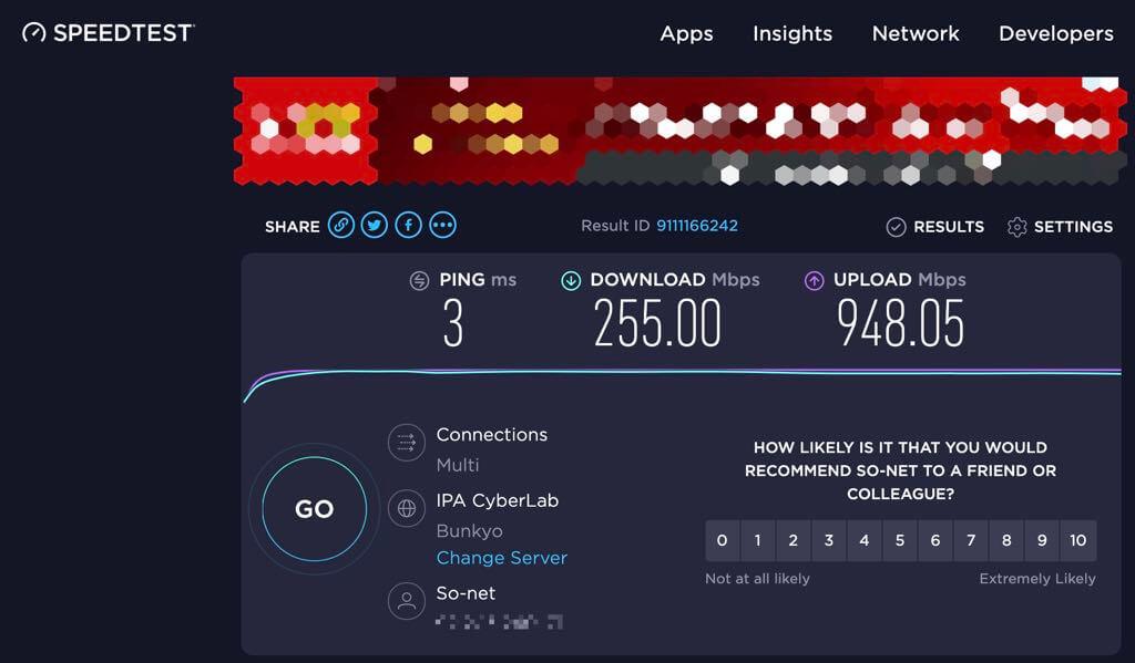 speedtestネットの計測値