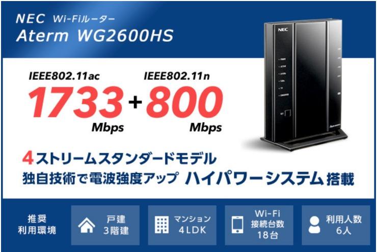 NEC製ハイグレードWi-Fiルーター Aterm WG2600HS
